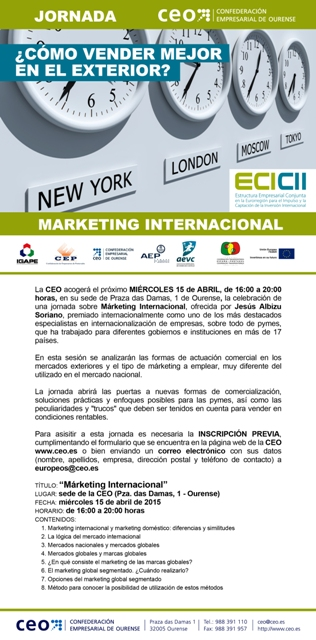 "Jornada ECICII sobre ""Marketing Internacional"" (Ourense, 15/04/2015)"